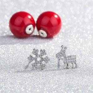 Reindeer & Snowflake Crystal Earrings